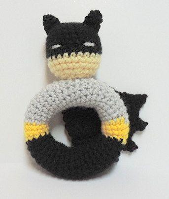 Adorable!!  Crochet Batman rattle pattern by yarnabees on Etsy