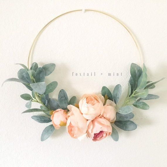 Peach Peony and Lambs Ear Wreath // Nursery Decor // Boho Nursery // Farmhouse Decor // Lambs Ear Wreath // Gold Hoop Wreath