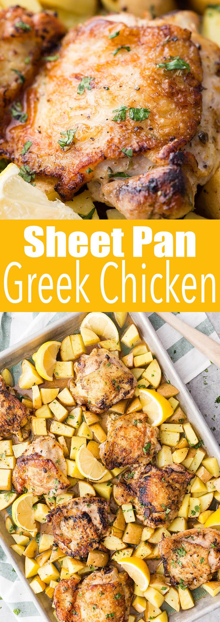 Easy to make sheet pan greek chicken thighs with potatoes. This is a really delicious dinner.  #chicken #chickendinner #sheetpandinner #sheetpanchicken #greek #greekchicken