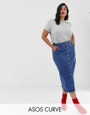 0054e87fbe4 ASOS DESIGN Curve denim midi skirt with poppers in midwash blue