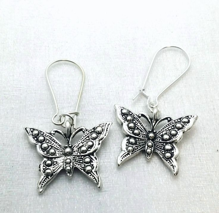 Butterfly Earrings - silver butterfly dangles - filigree Butterfly - party earrings - insect jewelry - girls earrings - gifts under 15 by thewingedscarab on Etsy
