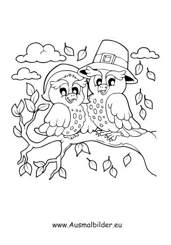 ausmalbilder herbst - ausmalbild vögel auf dem baum im herbst   ausmalbilder, ausmalbilder vögel