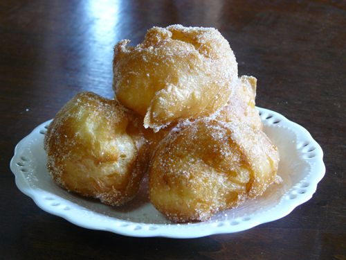 Sugar-egg-puff. Really good! I added Bavarian cream to the inside like a cream puff. Cheesecake flavor was awesome!