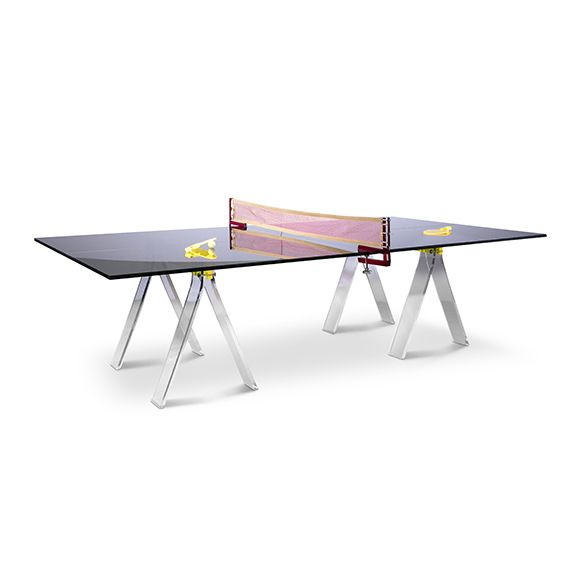 Modern Acrylic Ping Pong Table With Leather Net And Lucite Table Tennis  Paddles. Features An