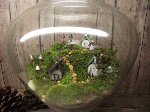 Miniature Landscape, Live Moss Terrarium with tiny raku fired ceramic houses and mushrooms- Handmade by Gypsy Raku on Etsy, $85.00