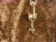 Bauchnabel Piercing Kitty 24 Karat Vergoldet Katze Cat Gold Weiß Hallo