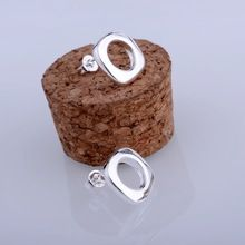 shiny rounded quadrate silver plated earrings 925 jewelry for women silver earrings MZFAUXYW(China (Mainland))