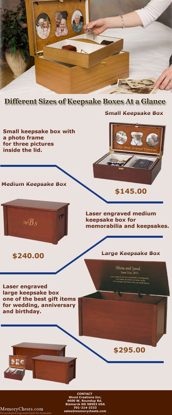 If you are really looking for keepsake boxes to preserve your favorite items and childhood memories then memorychests.com will be the right place for you. Check this document to get a overview of different sizes of keepsake boxes before taking any decision to purchase it online. #keepsakebox