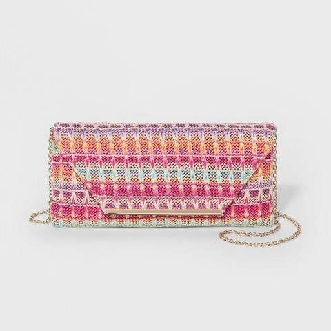 eefa59bbc341 Estee   Lilly Women s Estee   Lilly Raffia Envelope Clutch - Bright and  colorful Pink Handbag from Target