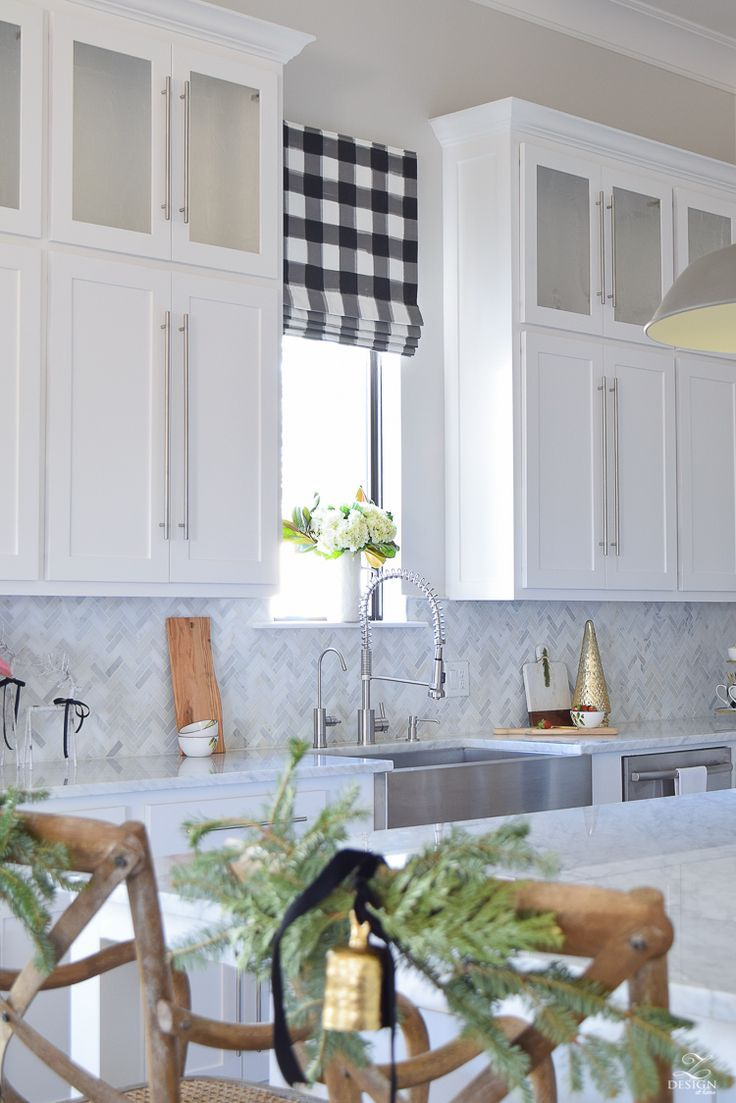ZDesign At Home: Christmas In The Kitchen with ZDesign At Home, buffalo check fabric blinds, buffalo plaid fabric