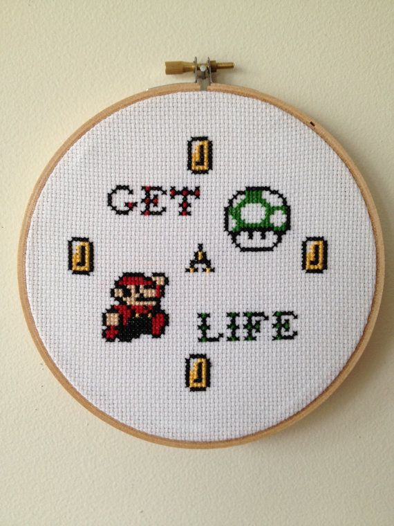 PATTERN Super Mario Inspired Get A Life Cross by stephXstitch