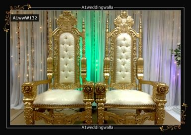 Prince style wedding chair set for hire in UK. For booking call us at 7958 330043. #WeddingChairSet #RoyalWeddingChair #WeddinChair #StageDecoration #WeddingStageDecoration