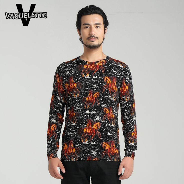 Casual Plus Size Male Sweater Printed Horse Knitted Trui Mannen Fashion Black Men Fall 2016 Sweaters Jumper M-4XL