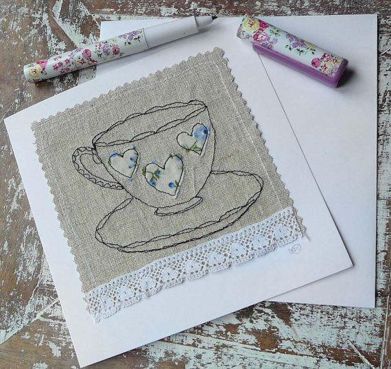 Handmade Card - Freehand Machine Embroidery - Blue Teacup Design - Large, 14.7cm x 14.7cm