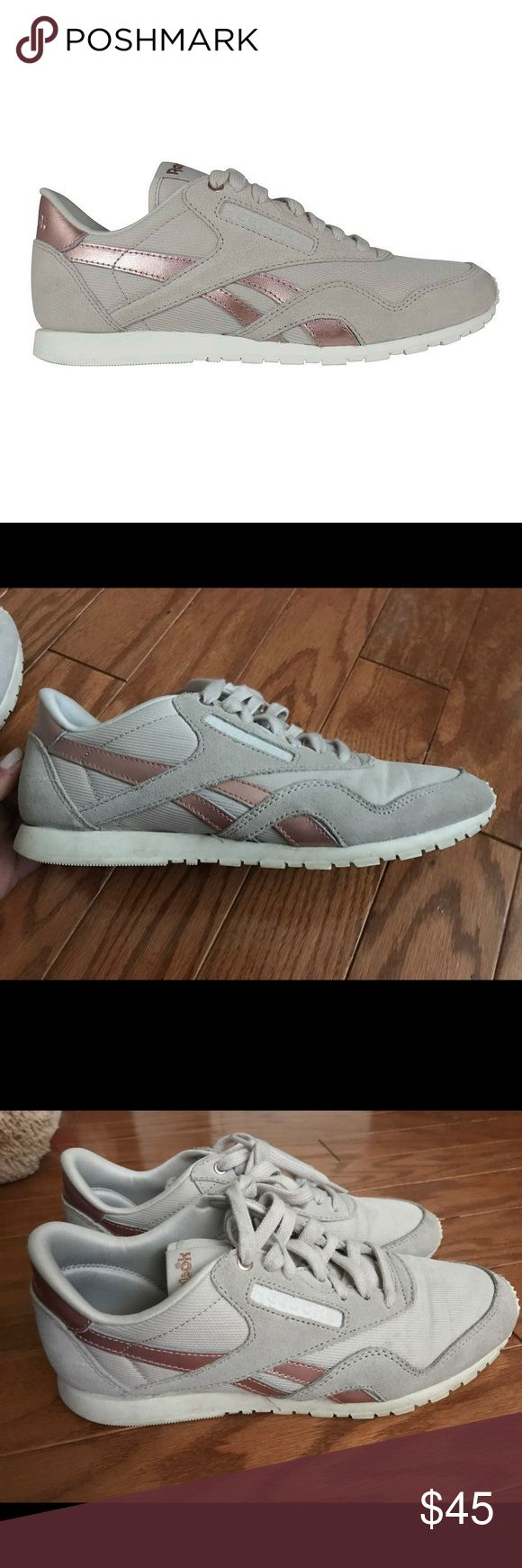 Pink Reebok Classic Metallic Sneakers Cute and comfortable reeboks. Unique and hard to find. Light wear & tear. Willing to negotiate. Ships today! Reebok Shoes Sneakers