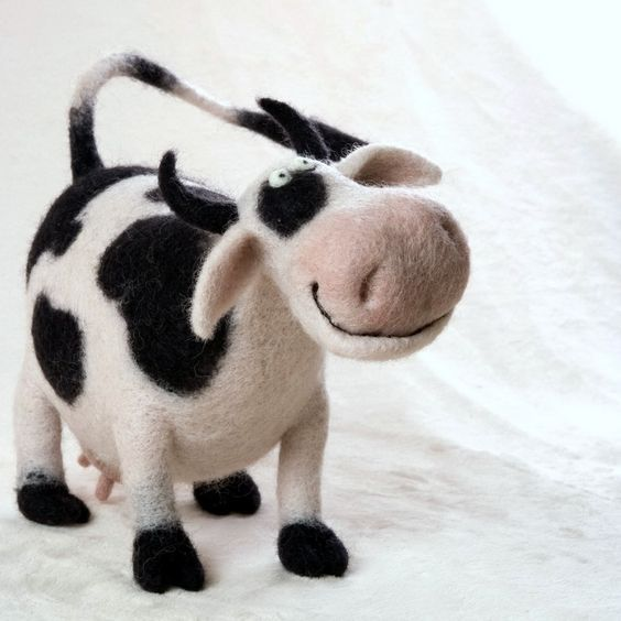 Adorable felted cow