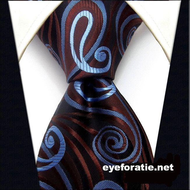 Cravate - Sergé Brun, Paisley Dans L'encoche Noire Et Deux Bleus