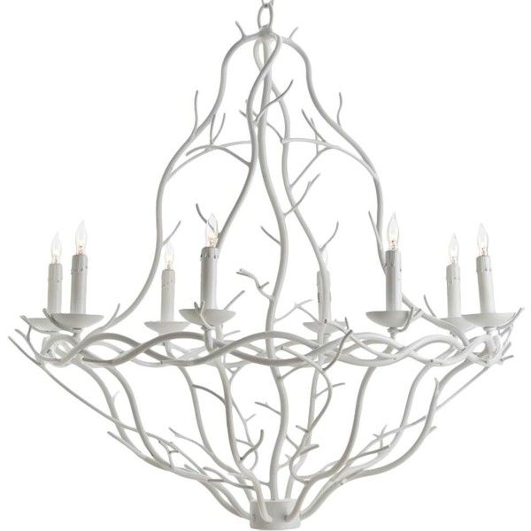 Dryad Modern Classic White Iron Branch Chandelier (1,880 CAD) ❤ liked on Polyvore featuring home, lighting, ceiling lights, white candelabra, painted chandelier, iron chandelier, contemporary lamps and white ceiling lights