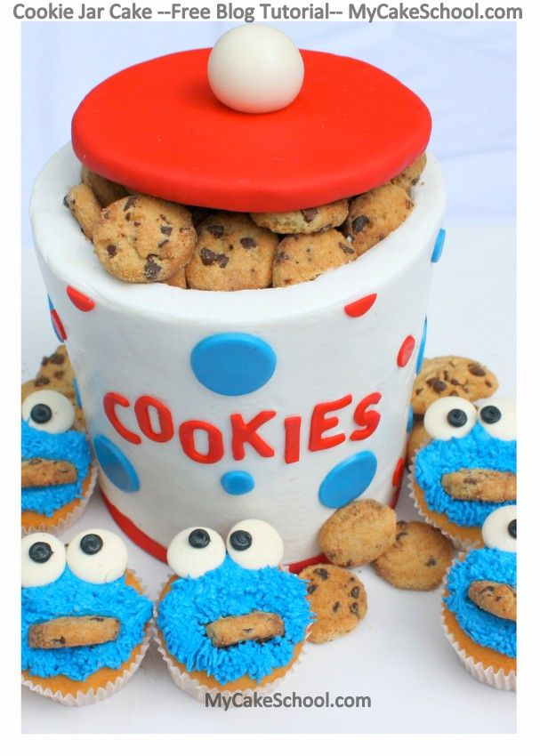 In this free blog tutorial, you will learn to make a cookie jar cake & Cookie Monster cupcakes!
