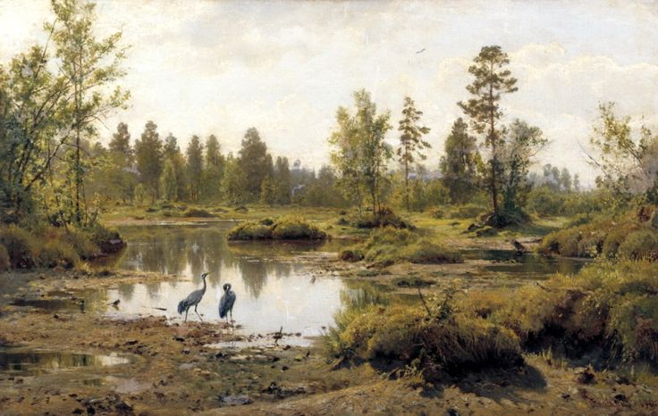 Shishkin Ivan - Swamp. The Cranes.. 200 Russian painters • download painting • Gallerix.ru