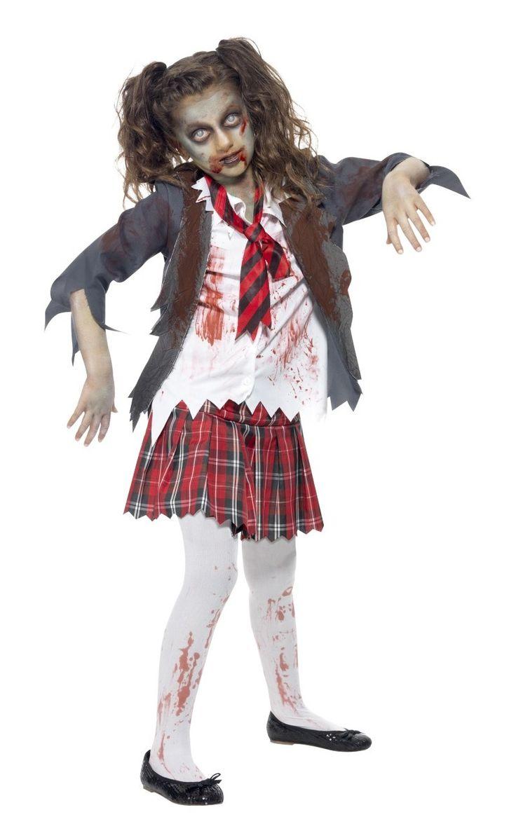 kid zombie costume homemade | Kids Zombie School Girl Costume