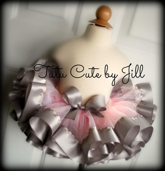 Sewn, Light Pink Tutu With Grey Silver Satin Ribbon Trim. Birthday Tutu, Elephant Tutu, Bunny Rabbit Tutu, Infant Tutu, Toddler Tutu