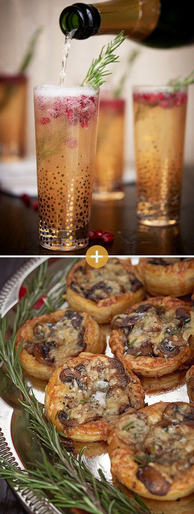 Pomegranate-Rosemary Sparklers + Cheesy Mushroom Tarts | 26 Delicious Things To Serve At Your Holiday Party