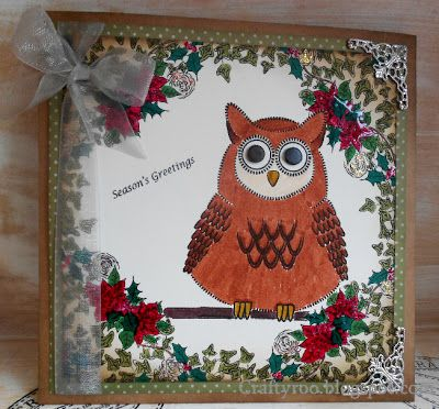 A handmade owl Christmas card made using stamps from Nina craft / Dimension Stamps.