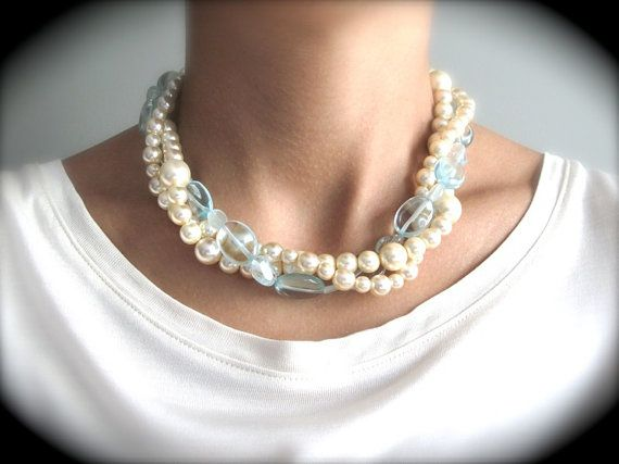 Aqua Marine and Ivory Pearl Twisted Necklaces by JustMadeJewelry, $46.00