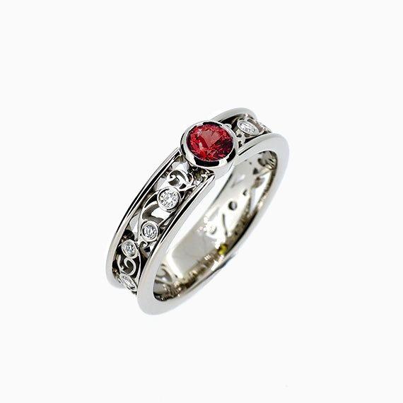 Lumina Filigree Ring with Garnet