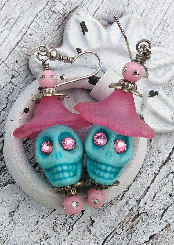 Pink and Turquoise Day of the Dead Sugar Skulls   by Secret Stash Boutique  www.etsy.com/shop/secretstashboutique