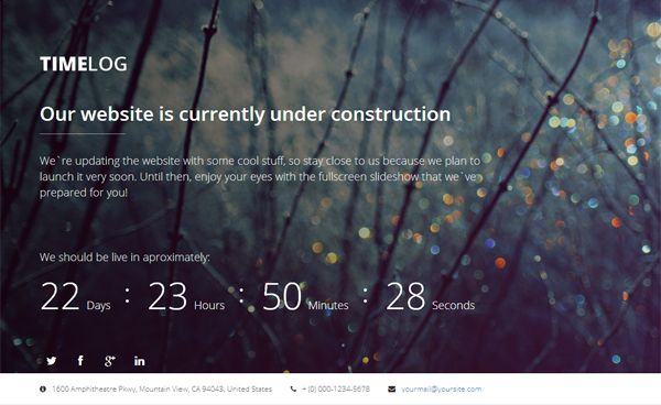 TimeLog - Free Coming Soon Template