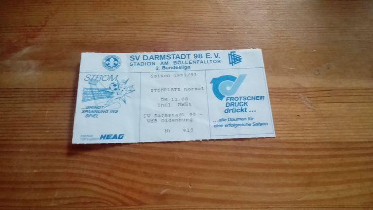 Eintrittskarte - 2. Bundesliga - SV Darmstadt 98 - VFB Oldenburg