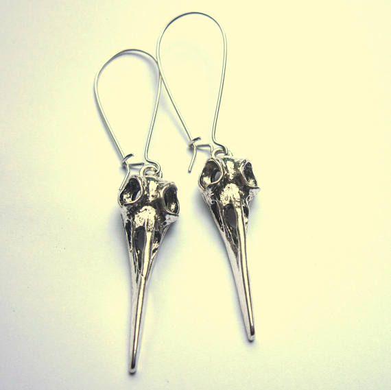 Silver Bird Skull Earrings Silver Plated Long Dangle Boho