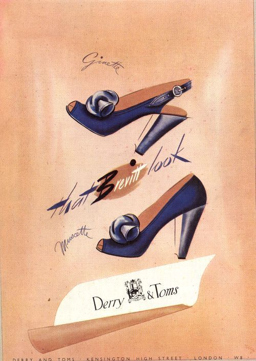 1940s shoe ad navy blue heels pumps spectator bow color photo print
