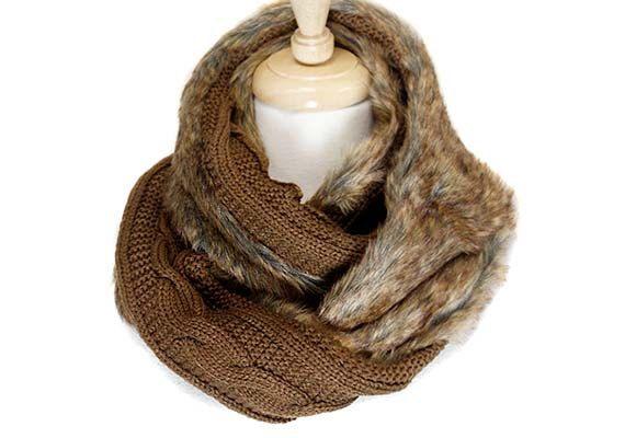 ONE LEFT: Womens scarf, fur scarf, cowl, chunky scarf ...