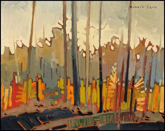 Robert Genn 1936 - 2014 Canadian.  Paysage with Orange and Green oil on board