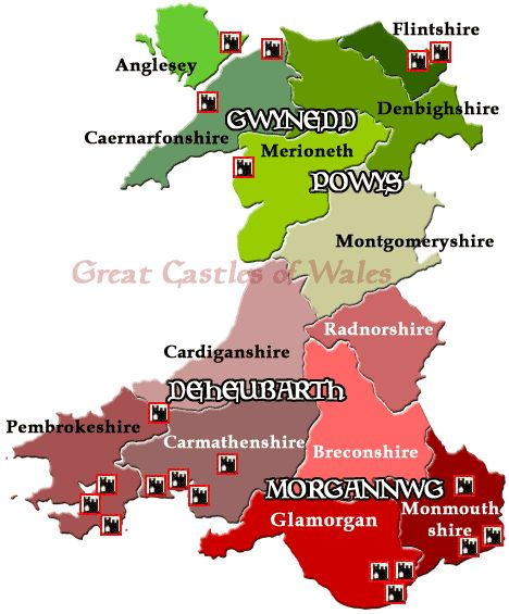 Celtic Britons, Ceredigion (Prydeinwyr Celtaidd Ceredigion)   BOARD TO CHECK OUT....    Castles Location Map - Great Castles of Wales