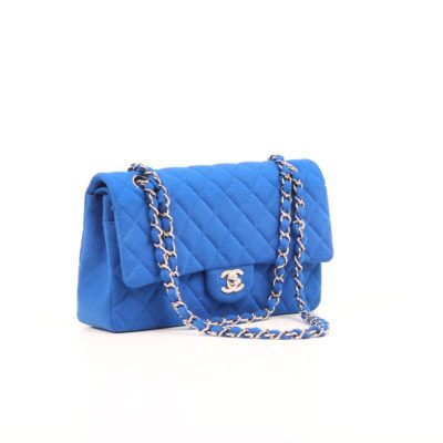 Chanel Jersey Quilted Timeless Double Flap Azul | CBL Bags