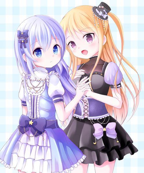 ✮ ANIME ART ✮ clothes. . .cute fashion. . .friends. . .holding hands. . .dresses. . .ruffles. . .bow. . .ribbons. . .pearls. . .long hair. . .blue hair. . .hair ribbons. . .mini top hat. . .cute. . .kawaii