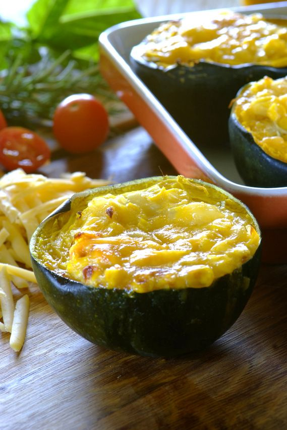 Gem squash [acorn squash] is one of South Africa's most popular vegetables – try out these that are stuffed with a creamy corn and cheese filling! #vegetarian #MeatFreeMonday