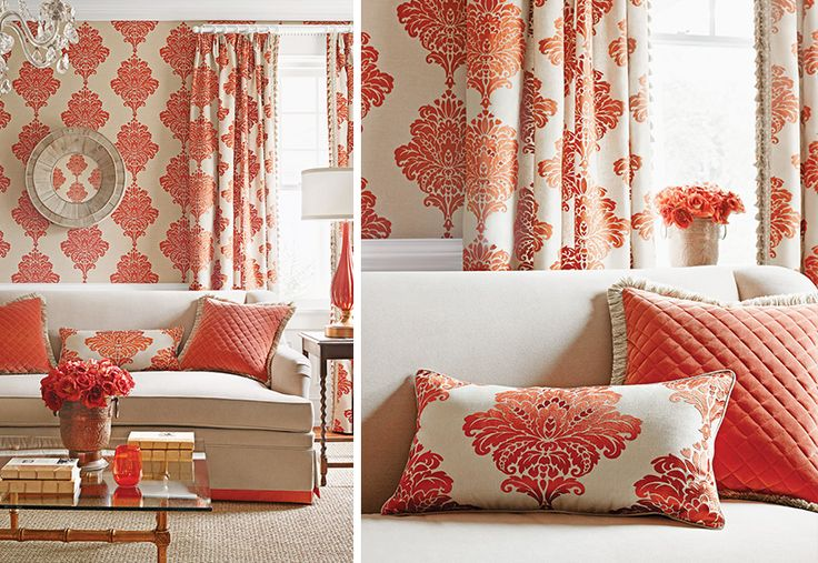 not crazy about the wallpaper pattern, but love this coral living room