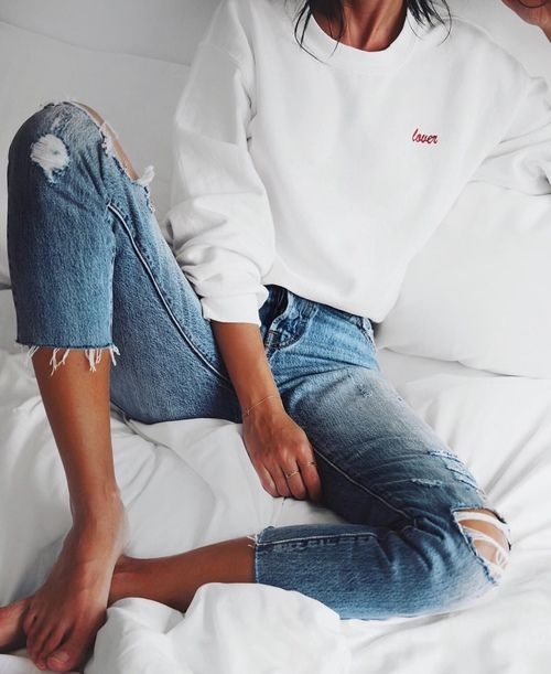 The Fashion Magpie Embroidered Sweatshirt and Ripped Jeans