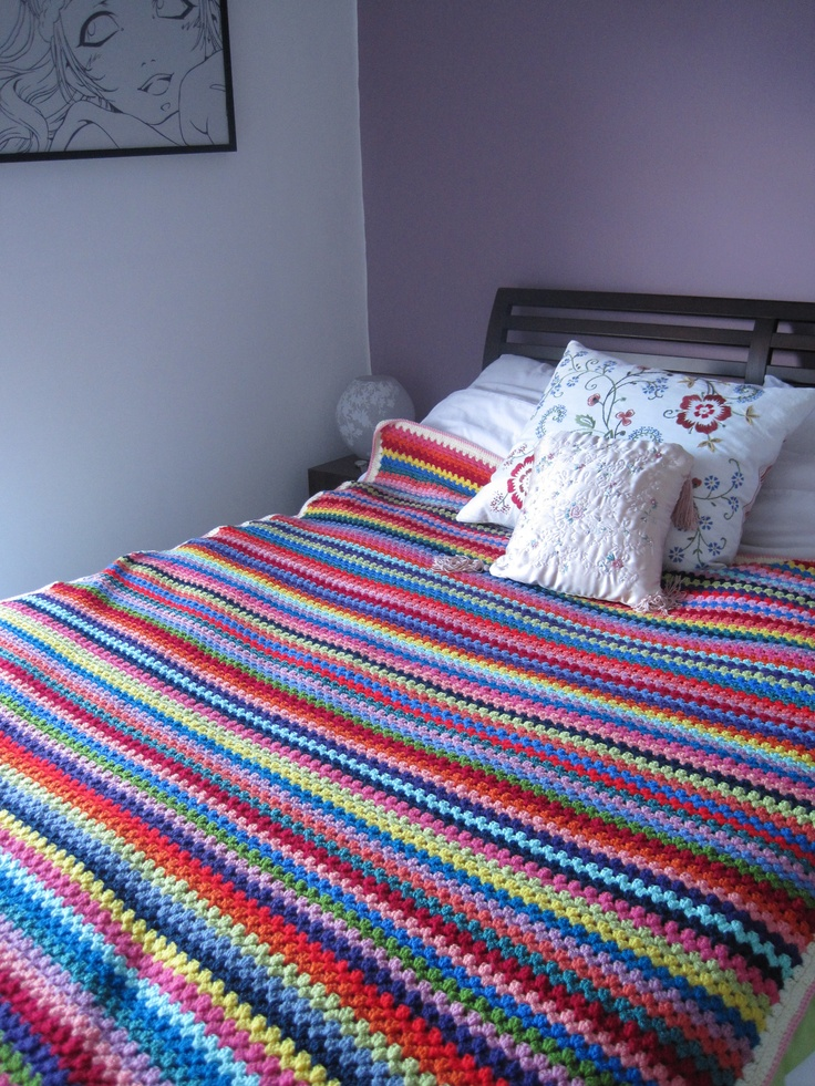 Granny stripe crochet blanket- all my scraps go into these. I have sooooo many!!!!!