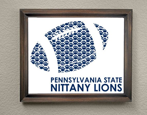 This colorful Pennsylvania State University Nittany Lions Football print is an original pattern, designed with the Pennsylvania State University Nittany Lions colors and symbols in mind. This print come in a variety of sizes (please see drop down menu on the right).  This print can come with or without the words, Pennsylvania State Nittany Lions (please see drop down menu on the right).  This unique Pennsylvania State University Nittany Lions Football print looks great by itself, or on a…