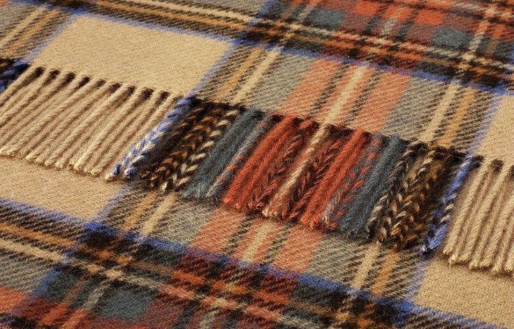 Pure Wool Antique Dress Stewart Tartan Throw 140x180 cms - Wool Tartan Throws 140x180 cms - Shop By Size Sofa Throws