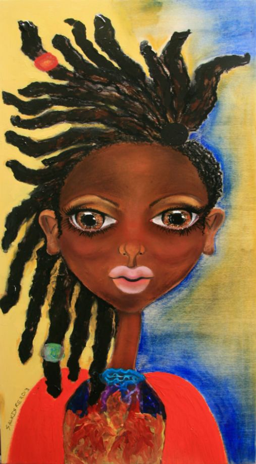"""Abena"""" African Art on Wood  This would look great in my daughter's room"""