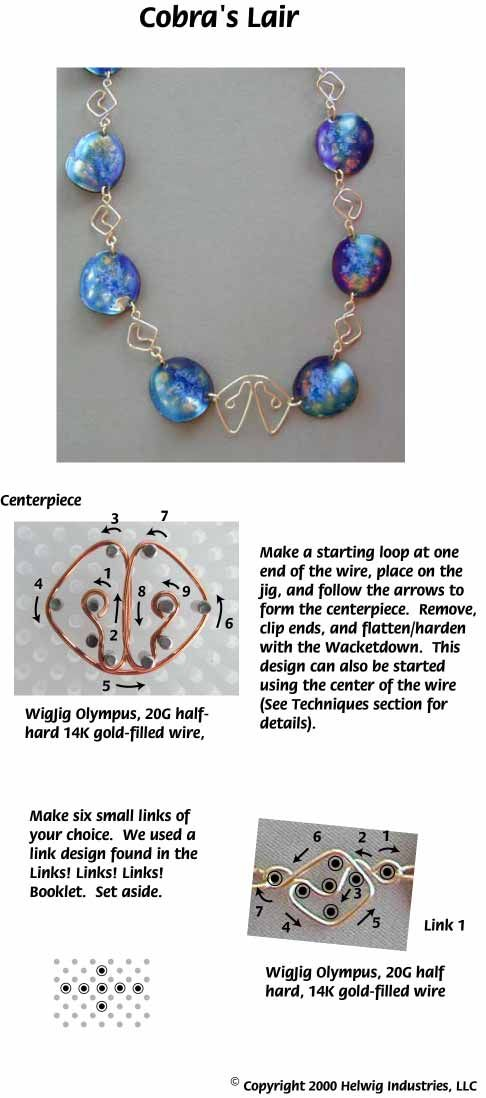 Cobra Liar Wire and Copper Beads Necklace made with WigJig jewelry making tools and jewelry supplies.