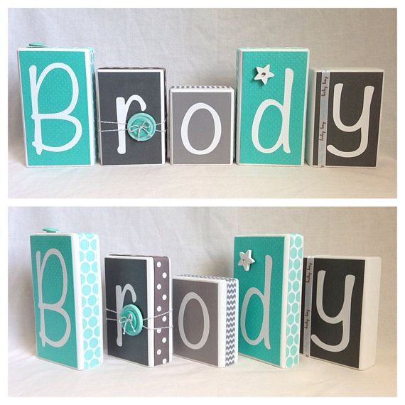 Brody Aqua & Gray Personalized Blocks by BlocksPaperPaint on Etsy