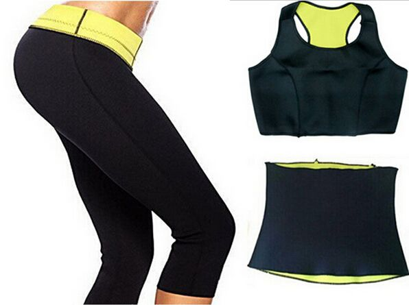 ( Брюки + жилет + пояс ) горячая распродажа супер-стретч неопрена шейперы спортивный комплект одежды женская похудения комплектов одежды